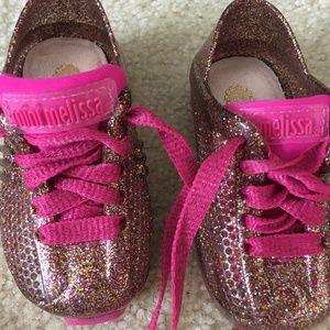 Mini Melissa Girls Pink Glitter Sneakers, 5